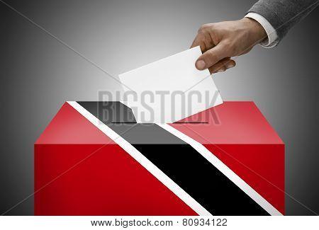 Ballot Box Painted Into National Flag Colors - Trinidad And Tobago