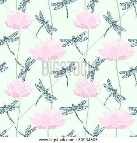 Dragonfly seamless background