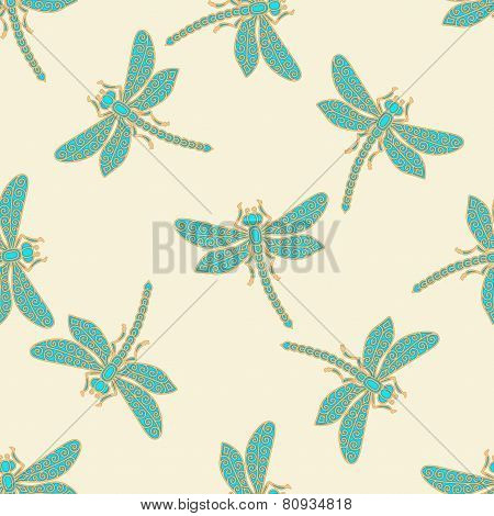 Dragonflies seamless background