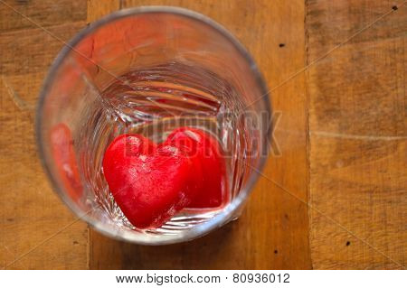 Hearts - ice cubes in a glass
