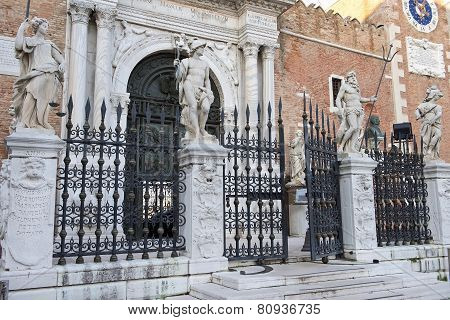 Main Entrance In Venetian Arsenal, Venice, Italy