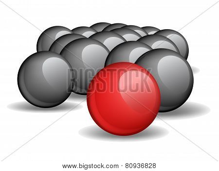 One red unique sphere came forward from a crowd of black spheres