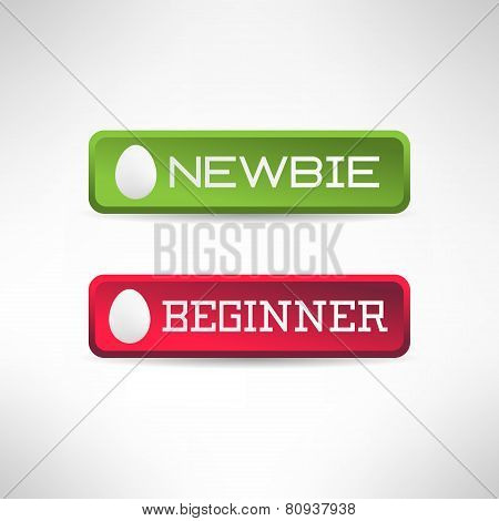 Simple newbie button with egg icon on it. Vector