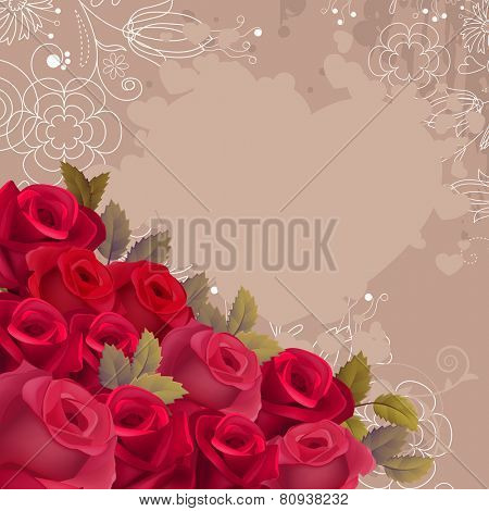 Beige romantic background with red realistic hearts