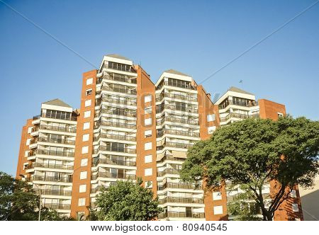 Low Angle View Modern Apartments Building