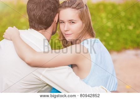 Passion Look Of Young And Sensual Caucasian Female Woman Together With Her Beloved. Looking Backward