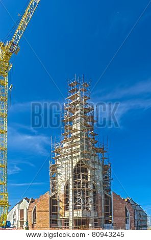 Building Site With Cranes Against Blue Skies. Hdr Image.