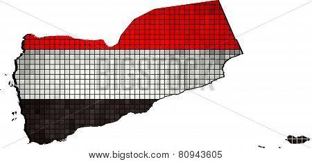 Yemen Map With Flag Inside