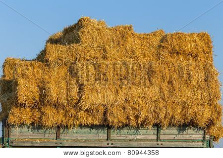Straw Hay Bales On A Trailer