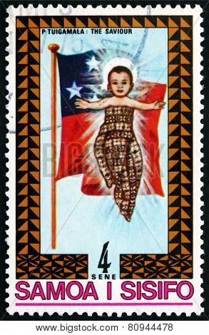Postage Stamp Samoa 1975 Christ Child And Samoan Flag