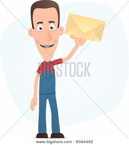 Mechanic standing with a letter