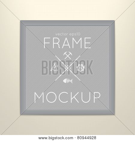 Vector template of square frame with poster, placed in interior.