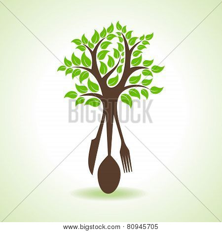 restaurant forks make a tree stock vector