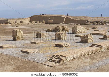People explore ruins of Otrar in Shymkent, Kazakhstan.