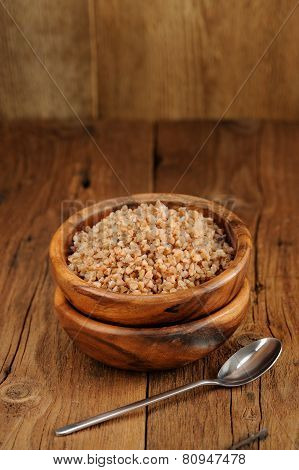 Russian Buckwheat Kasha In Wooden Bowl