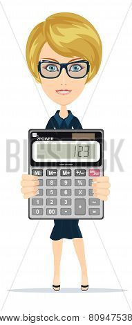 Successful business woman showing victory sign, holding a calculator