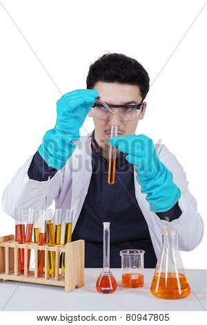Young Scientist Working With Chemical