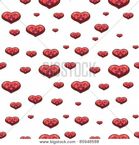 Seamless Pattern With Volumetric Hearts