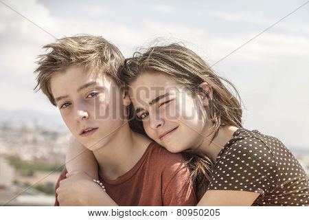Sister Hugging Her Brother, Toned Image