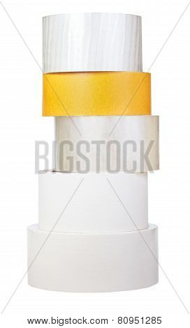 Pile Of Adhesive Tape Rolls Isolated On White