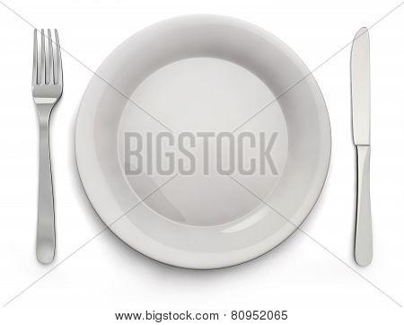 Food Plate, Knife, Fork - Stock Image