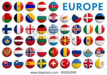 All Europe Countries Flags - alphabetical order