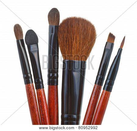 Set Of Makeup Brushes Isolated On White