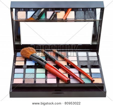 Makeup Kit And Cosmetic Brushes Isolated