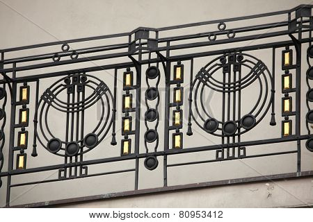 Art Nouveau ironwork balcony in Prague, Czech Republic.