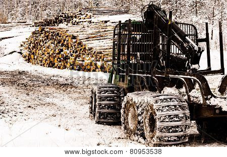 forestry tractor parked