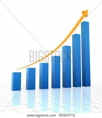 Rising chart, 3d render