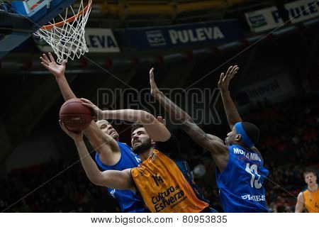 VALENCIA, SPAIN - JANUARY 21: Dubljevic with ball during Eurocup match between Valencia Basket Club and CSU Asesoft at Fonteta Stadium on January 21, 2015 in Valencia, Spain