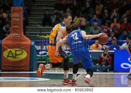 VALENCIA, SPAIN - JANUARY 21: Runkauskas with ball during Eurocup match between Valencia Basket Club and CSU Asesoft at Fonteta Stadium on January 21, 2015 in Valencia, Spain