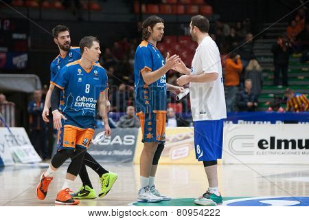 VALENCIA, SPAIN - JANUARY 21: Labovic (R), Loncar (C) during Eurocup match between Valencia Basket Club and CSU Asesoft at Fonteta Stadium on January 21, 2015 in Valencia, Spain