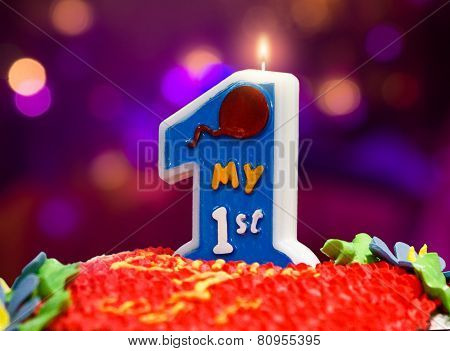 Closeup Of The Birthday Cake For A One Year Child
