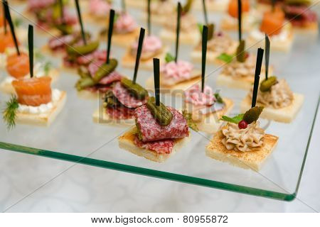 Catering - Served Table With Various Snacks, Canape And Appetizers