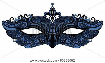 Carnival mask with swirls and lace. vector illustration isolated on white background.
