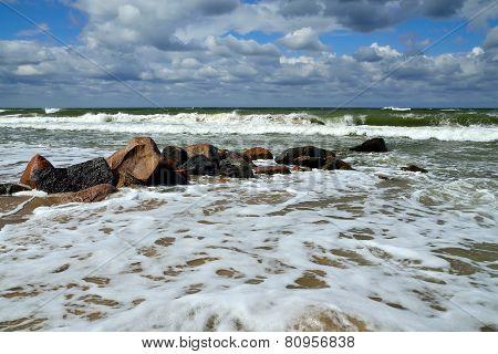 Sea Foam And Breakwater