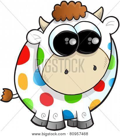 Rainbow Farm Cow Vector Illustration Art