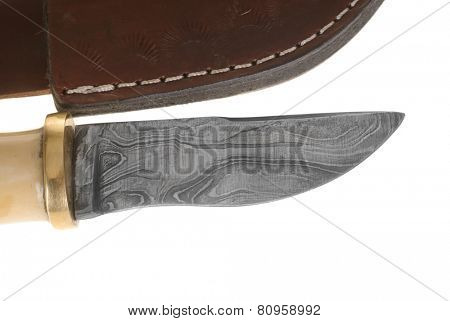 Hayward, CA - January 23, 2015: Damascus blade knife made in the Punjab, Pakistan