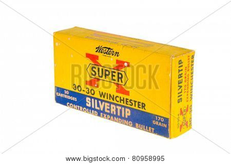 Hayward, CA - January 13, 2015: Box of old Winchester Super X 30-30 ammunition