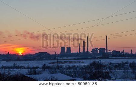 Sunset over Steel mill