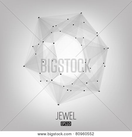 Abstract vector background. Futuristic style card. Lines, point, planes in 3d space. Jewel, gem.