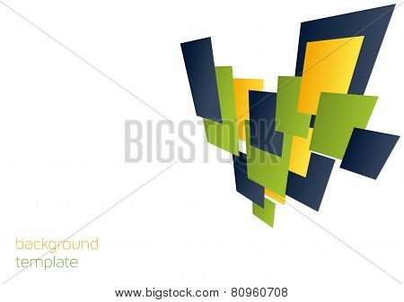 Background Template With 3D Colorful Rectangles
