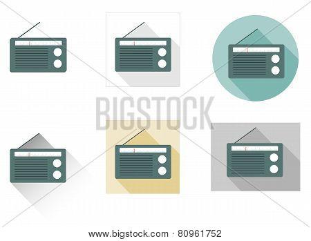 Set Of 6 Flat Radio Icons