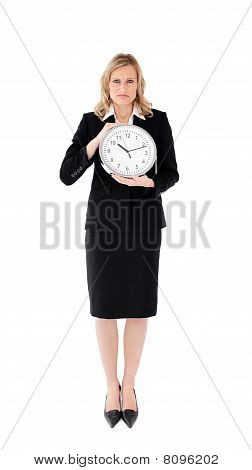 Unhappy Businesswoman Against White Background