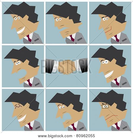 Businessman facial emotions. Set of flat design icons. Vector illustration
