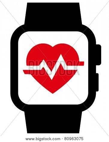 Smartwatch with heart rate icon