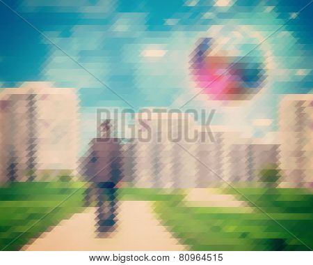 Abstract triangle background with man approaching city