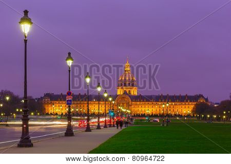 Les Invalides at night in Paris, France